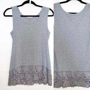 Torrid  Gray lace trim ribbed Tank top size 1